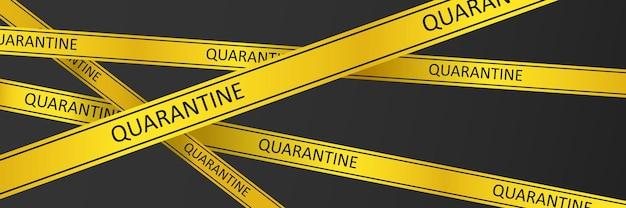 검역 주의 노란색 경고 테이프 코로나바이러스 covid-19. 벡터 eps 10