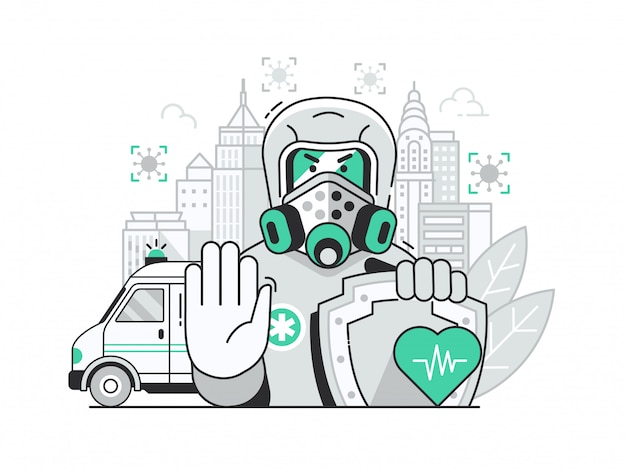 Quarantine city coronavirus pandemic concept with epidemiologist in biohazard costume.