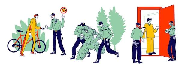 검역 통제 개념. 등장인물은 통행금지 또는 자가 격리 제도를 위반하고, 경찰은 나무 복장을 한 사람을 체포하고, 공원의 자전거 운전자와 격리된 사람들을 체킹합니다. 선형 벡터 일러스트 레이 션