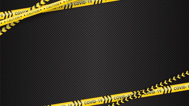 검역 위험 테이프. 코비드 19 및 검역 구역 노란색 경고 테이프. 어두운 투명한 배경에 코로나바이러스 코비드 위험 줄무늬. 안전 경고 노란색 검은색 줄무늬.