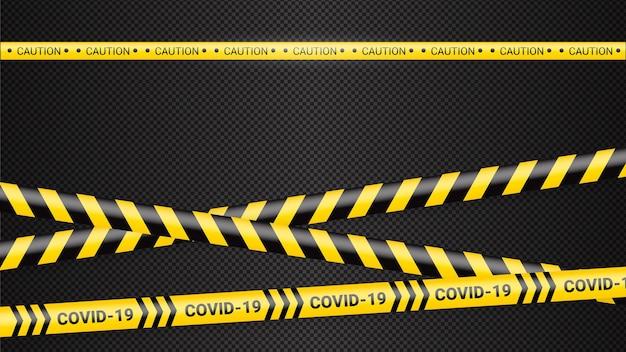 検疫危険テープ。 covid 19と検疫ゾーンの黄色い警告テープ。コロナウイルスcovid危険ストライプ