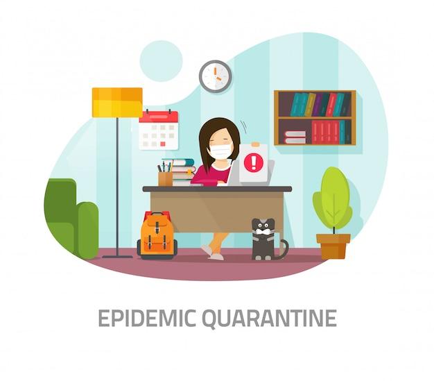 検疫の流行リスクの概念または家の隔離医療マスクの作業距離または職場のテーブルデスク正面ベクトルフラット漫画画像の自宅の部屋から学ぶ人