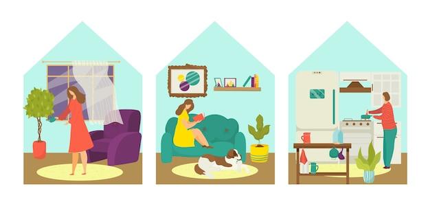 검역 감염 방지, 여자 집 개념 그림에 머물. 집에있는 사람, 코로나 바이러스자가 격리, 바이러스 보호 세트에있는 사람. 방에 전염병, 성격.