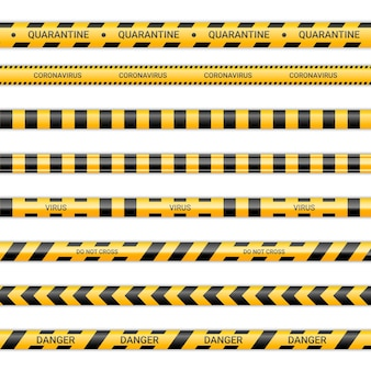 Quarantine lines and caronavirus ribbons. virus tapes in yellow and black color. warning signs collection isolated on white background. vector illustration.