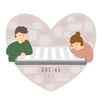 Карантин мужчина и женщина со смартфоном чата держат расстояние до защиты от вспышки covid-19, социального удаленного концептуального плаката или иллюстрации социального баннера на фоне сердца, копией пространства