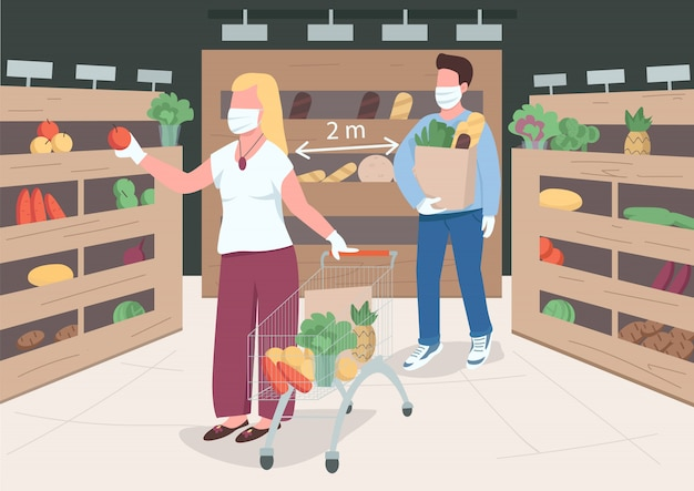 Quarantine measures flat color illustration. prevent virus spread in public places. woman and men on 2 meter distance. store customers 2d cartoon characters with interior on background
