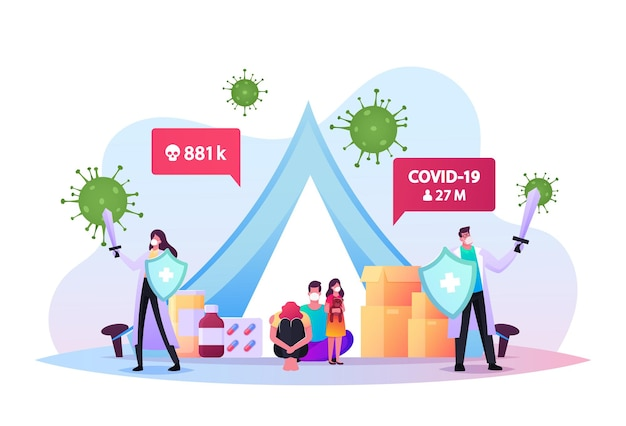 Quarantine self isolation concept. doctors with swords protect family characters in medical masks sitting in tent with pills during covid19 pandemic, global epidemic. cartoon vector illustration
