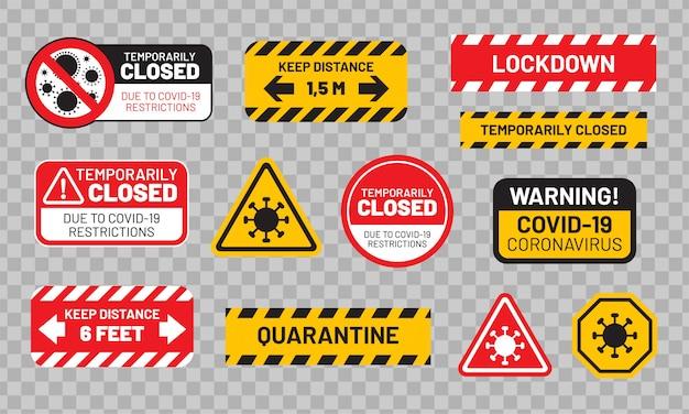 Covid-19(コロナウイルス)の検疫標識セット。ステッカーまたはラベル「隔離」、「一時的に閉鎖」、「ロックダウン」、「距離を保つ」など