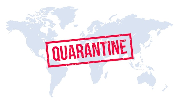 Quarantine stamp over world map. global infection, world quarantine, epidemic outbreak, global coronavirus pandemic  illustration