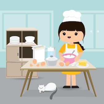 検疫、在宅滞在のコンセプト。自宅で仕事、キッチンルームでベーカリーを調理する女性。キャラクター漫画イラスト