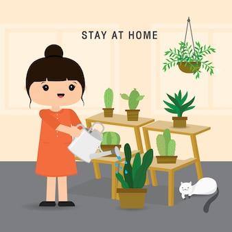検疫、在宅滞在のコンセプト。家で働く女性、木を育てて植物に水をまく。キャラクター漫画イラスト