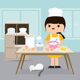 Quarantine, stay at home concept. working from home, woman cooking bakery in kitchen room. character cartoon illustration