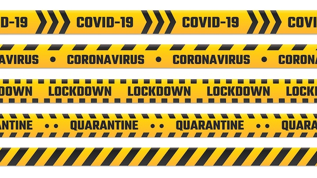 검역 줄무늬, 경계용 노란색 테이프. covid 19 발생, 코로나바이러스 질병에 대한 경고 코돈. 글로벌 전염병 잠금, 보안 테이프 펜싱 독감 질병 벡터 일러스트 레이 션