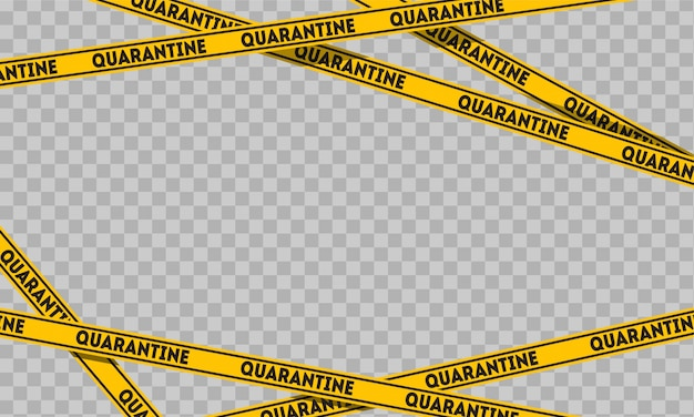 Quarantine tape on transparent background. warning signs