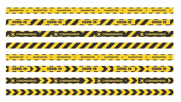 검역 테이프. 출입구 분리 용 노란색 검정색 테이프. 집안의 검역소는 코로나 바이러스를 예방합니다.