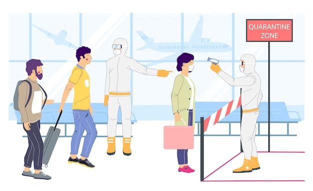 Quarantine zone concept   flat style design illustration