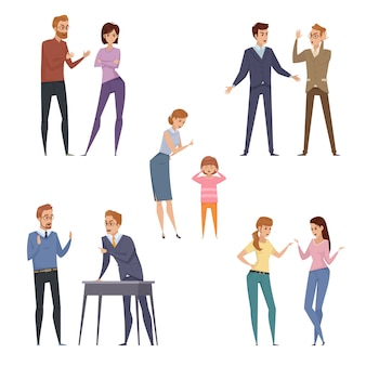 Quarrel icons collection with arguing people in different situations in flat style isolated vector i
