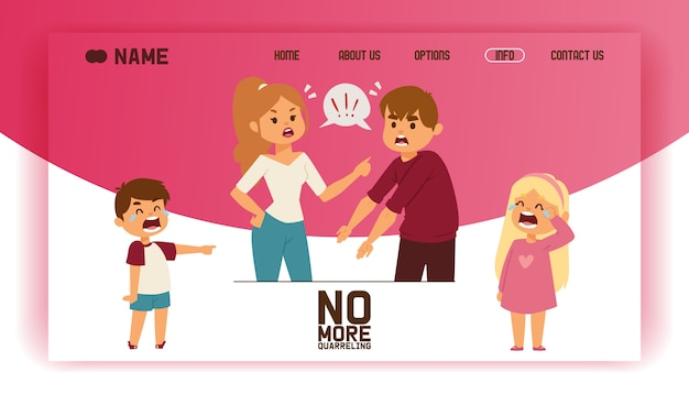 Quarrel landing page people man woman in family conflict crying children boy girl.
