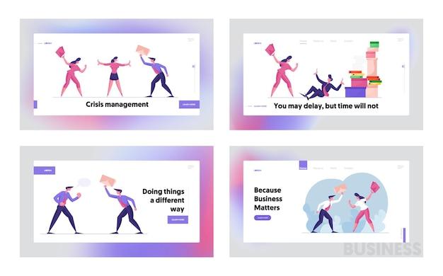 Ссора или конфликт между коллегами набор шаблонов целевой страницы
