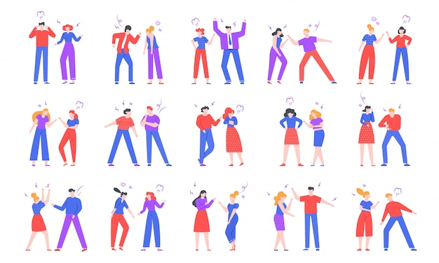 Quarrel people. crier characters, swearing friends and family members, conflict, disagreement and disrespecting humans illustration. negative emotions expression isolated pack
