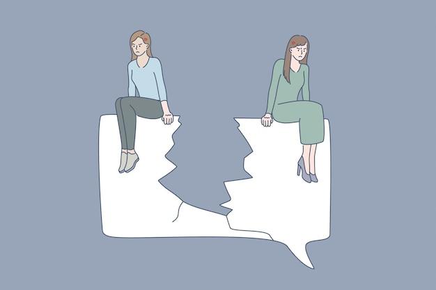 싸움, 통신 개념의 문제. 찢어진 종이의 다른 가장자리에 앉아 있는 두 여자 친구는 서로 벡터 일러스트레이션으로 오해와 다툼을 하는 것을 슬프게 생각합니다.