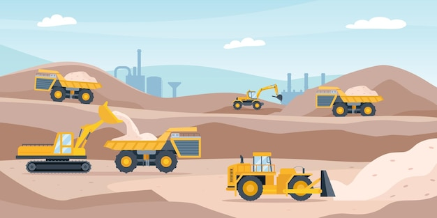 Quarry landscape. sand pit with heavy mining equipment, bulldozer, digger, trucks, excavator and factory. open mine industry vector concept. pit sand and excavator with heavy machinery illustration
