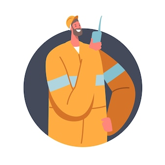 Quarry miner character at work, coal mining industry concept. mine worker in uniform and helmet holding walkie-talkie