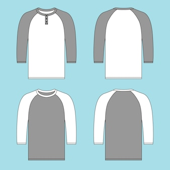 Quarter sleeve raglan tshirt with button with two different colors