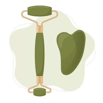 クォーツと翡翠のフェイスローラーとグアシャスクレーパー肌の美容ケアの概念ベクトル図