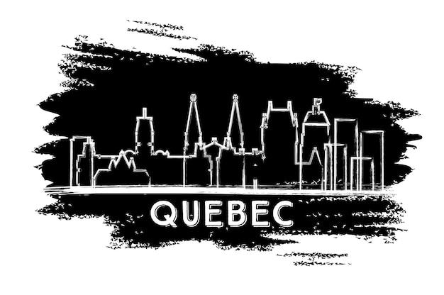 퀘벡 캐나다 도시 스카이 라인 실루엣입니다. 손으로 그린 스케치. 벡터 일러스트 레이 션. 현대 건축과 비즈니스 여행 및 관광 개념입니다. 랜드마크가 있는 퀘벡 도시 풍경.