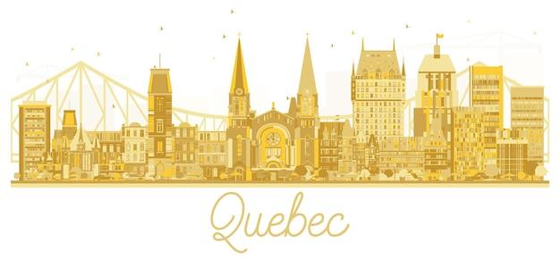 Золотой силуэт горизонта города квебека. векторные иллюстрации. простая плоская концепция для туристической презентации, баннера, плаката или веб-сайта. концепция деловых поездок. городской пейзаж квебека с достопримечательностями.