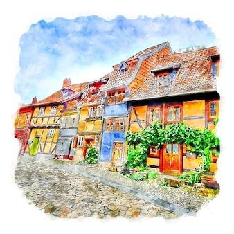Кведлинбург германия акварельный эскиз рисованной иллюстрации