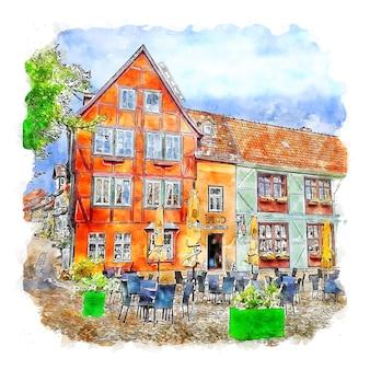 Quedlinburg 독일 수채화 스케치 손으로 그린 그림