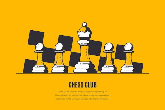 Королева, четыре пешки и шахматная доска на желтом баннере шахматного клуба