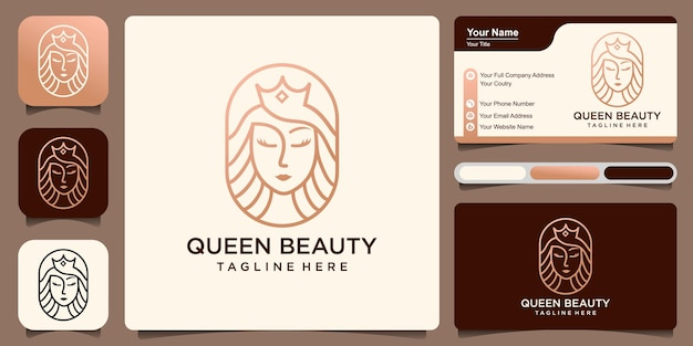 Queen beauty combination women and crown with business card  logo design template