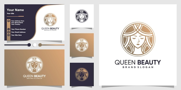 Queen beauty logo with modern golden and line art style and business card design