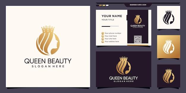 창조적 인 개념과 명함 디자인으로 여왕 아름다움 여자 얼굴 로고 premium 벡터