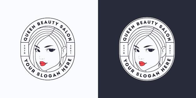 Queen beauty woman hair white salon logo