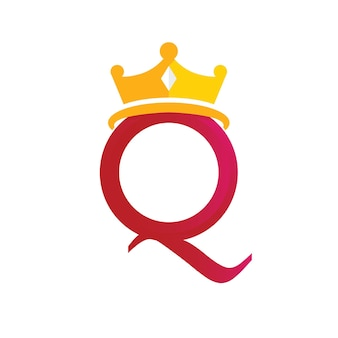 Queen crown logo template with letter q symbol