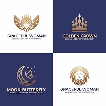 Queen, crown, moon, woman logo design collection