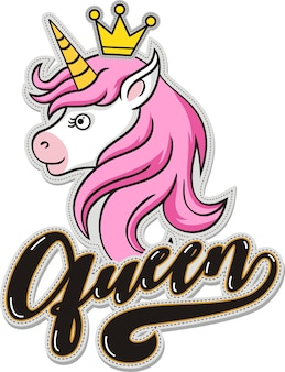 Queen, cute unicorn with crown