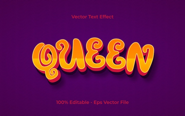 Queen editable 3d text effect with kids style