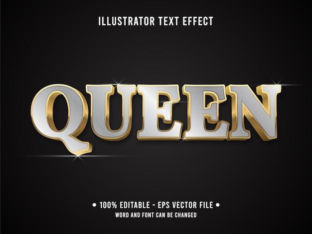 Королева редактируемый текстовый эффект в современном стиле с золотым серебристым цветом