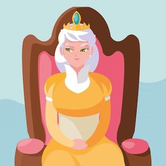 椅子のアバターキャラクターに座っている女王おとぎ話の魔法