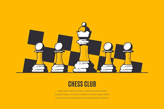 Queen and four pawns and chess board pattern on yellow, chess club banner