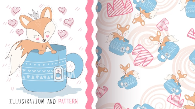 Queen foxy seamless pattern
