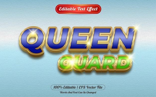 Queen guard editable text effect golden themed