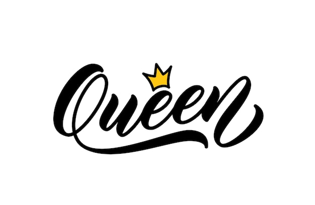 Queen handwritten word. modern calligraphy. hand lettering design for printing on clothes. queen word with crown.