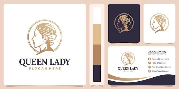 여왕 아가씨 아름다움 여자 로고와 명함 개념