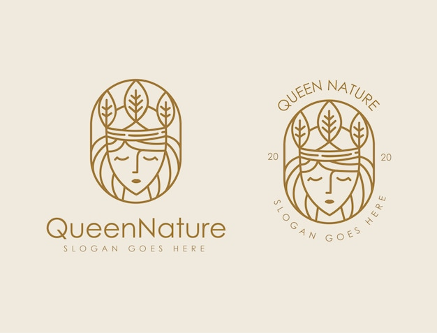 Queen leaf nature logo template